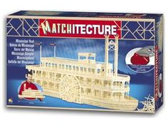 """The Matchitecture Mississippi Boat matchstick kit includes everything needed to make this matchstick model kit.  Included are all the pre-cut card formers along with the glue, matchticks and full instructions.  These instructions will guide you through each stage of the construction until you finally achieve the finished product. We would highly recommend this Matchitecture Mississippi Boat matchstick model Kit.    4700 Microbeams. Size: 749mm(29"""") long x 279mm(11"""") high x 178mm(7"""") wide."""