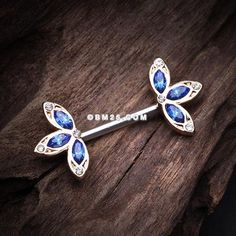 A Pair of Lotus Crystal Sparkle Flower Nipple Barbell Ring Piercing Tattoo, Body Piercing, Body Jewelry, Jewlery, Different Ear Piercings, Nipple Rings, Blue Rings, Barbell, Lotus