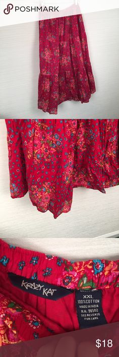 XXL 32 waist unstretched prairie boho skirt long XXL SKIRT. 100% cotton. Lined. Laying flat the elastic waist is 32 inches (16x2) and the length is 38 inches. Great condition. Krazy Kat Skirts