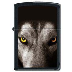 Zippo 0224 Classic Black Matte Wolf's Face Windproof Pocket Lighter
