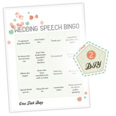 DIY Wedding Speech Bingo Game