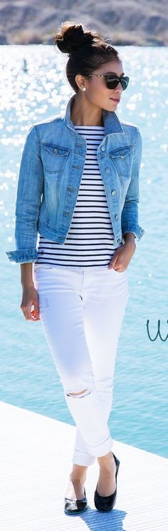 awesome Latest fashion trends: Women's fashion Striped shirt, denim vest, white pants and flats Look Fashion, Trendy Fashion, Spring Fashion, Womens Fashion, Trendy Style, Fashion Black, Nautical Fashion, Nautical Outfits, Trendy Hair