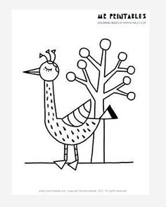Tall Bird and a Tree Coloring Page - We would try to come up with a folk song based on the name of this free coloring page, but we were too busy coloring.