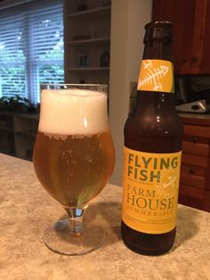 Flying Fish Farmhouse Summer Ale:  Day 351: Flying Fish Farmhouse Summer Ale from Flying Fish Brewing Company. Style of beer is 'Blonde Ale'. ABV is 4.6%.   Read more at http://www.beerinfinity.com/beer-of-the-day-flying-fish-farmhouse-summer-ale/.