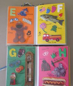 ABC alphabet  book for baby or toddler using magazine cut outs, foam stickers, and a mini photo album (from the dollar store)