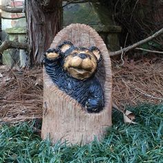 "HomeStyles Call of the Wild Bear in Log Stump Statue Size: 12"" H x 7"" W x 7"" D"