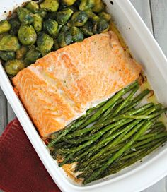 Easy Baked Salmon with brussel sprouts and asparagus! #lowcarb