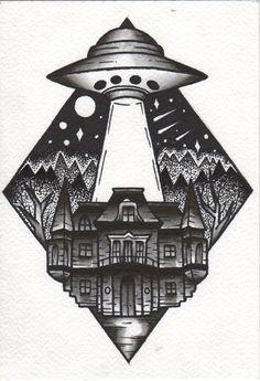 #ufo #house #home #forest #landscape #neotraditional #traditional #patkarpeza