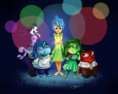 Fear, Sadness, Joy, Disgust & Anger (Drawing by Sadness Inside Out, Joy And Sadness, Disney Fan Art, Disney Pixar, Dreamworks, Inside Out Characters, Disney Inside Out, Baymax, Ideas
