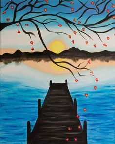 Cherry Blossom Pier Acrylic Sunset Painting by DannaLivingston