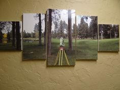 This is a wall hanging for the same bathroom remodel @ the land surveying co. I work for.  Used canvases, printed a photo one of surveyors took on site, fit to canvas, decoupaged it, hung on wall.