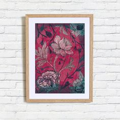 Deep Red Indian Floral Pattern Art Print by lovelysweetwilliam