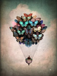 """Dream On butterflies Art Print - Gallery quality Giclée print on natural white, matte, ultra smooth, 100% cotton rag, acid and lignin free archival paper using Epson K3 archival inks. Custom trimmed with 1"""" border for framing."""