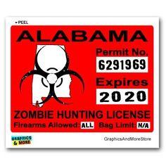 Alabama AL Zombie Hunting License