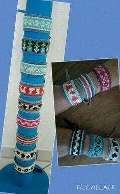 Armbanden geborduurd met jeans