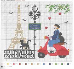 0 point de croix femme à scooter à paris - cross stitch lady in scooter in paris