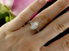Marquise Moissanite Halo Engagement Ring by KaratJewelryGroup