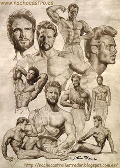 "Bodybuilding Steve Reeves,illustration from the book ""men of Hollywood"". Steve Reeves, Guy Drawing, Figure Drawing, Cinema Tv, Gay Art, Black And Grey Tattoos, Hercules, Caricature, Creative Art"
