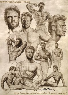 """Steve Reeves,illustration from the book """"men of Hollywood"""".Nacho Castro.Diábolo Ediciones"""