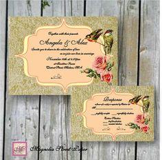Printable Custom Vintage Birds and Roses Wedding Invitations, Digital DIY, Includes RSVP, Shabby Chic Wedding, Victorian, Rustic Wedding