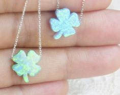 Opal four leaf clover silver necklace leafage by TURKISHNAZAR Opal four leaf clover silver necklace, leafage, lucky amulet, good luck charm, gift to girlfriend, talisman, Turkish spell, ancient superstition, sterling silver chain petite gift, Baby blue opal, opal necklace, petite necklace, ball necklace, round opal necklace, opal jewelry, something blue, natural