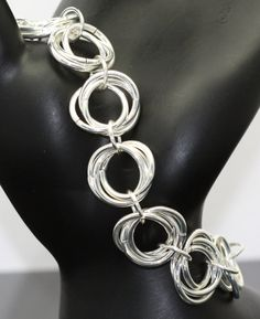 Silver Mobius Flower Chain Bracelet Chainmaille by AlwaysAdorned, $20.00