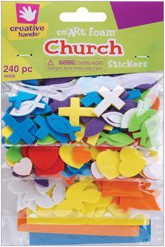 Creative Hands by Fibre-Craft 240-Pack Foam Stickers, Mini Church