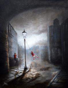 Bob Barker Art : Swinging in the Rain