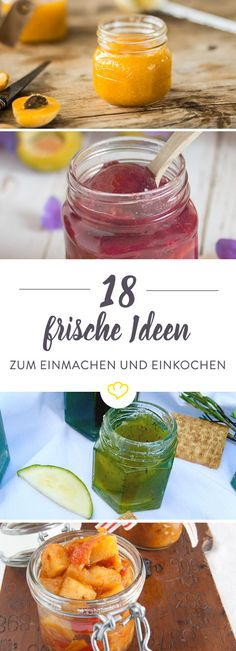 18 fresh ideas for canning, boiling and pickling- 18 frische Ideen zum Einmachen, Einkochen und Einlegen Would you like to taste a little longer from summer? No problem. With these 18 delicious recipes for chutneys, jams and ketchups. Alcohol Recipes, Canning Recipes, Delicious Desserts, Yummy Food, Tasty, Pastry Cook, Genius Ideas, Chutneys, Salsa Picante