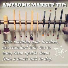 TIP Tuesday!!!   *** DIY Makeup Brush Drying Rack...