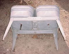 Vintage Wheeling Galvanized Double Wash Tub W Stand Beer Cooler Ice Chest Ebay My
