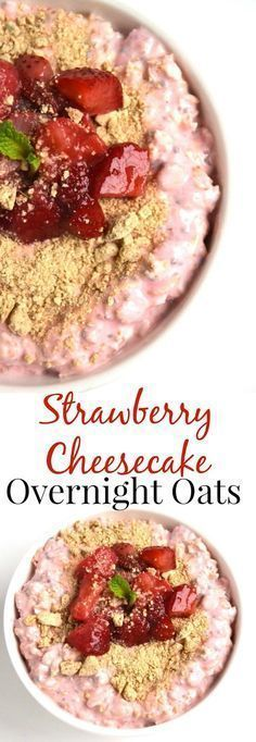 Strawberry Cheesecake Overnight Oats taste like your favorite dessert but are healthy with oats, Greek yogurt and strawberries! Loaded with swirls of cream cheese and graham crackers that true cheesecake flavor. www.nutritionistreviews.com