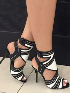 9b4c1e2e91b0 Buy 2017 Women s Fashion Summer New Sexy High Heel Sandals Thin Heel Black  and White Gladiator Shoes at Wish - Shopping Made Fun