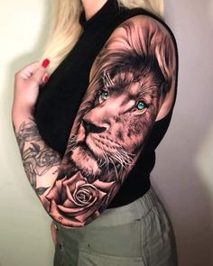 Lion Tattoo With Crown, Lion Tattoo On Thigh, Thigh Tattoos, Skull Tattoos, Tatoos, Ankle Tattoos For Women, Chest Tattoos For Women, Tattoos For Guys, Spine Tattoo Placements