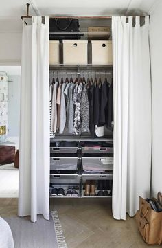 Creating an open closet does not require a lot of space, even you can store all your clothes in one room. See if you are able to create an open closet design Closet Curtains, Diy Curtains, Closet Doors, Bedroom Curtains, Pax Closet, Curtain Wardrobe Doors, Small Curtains, Room Closet, Apartment Closet Organization