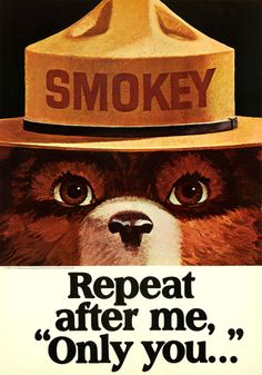 Smokey Bear - Repeat After Me - Only You - Vintage Poster (Art Prints, Wood & Metal Signs, Canvas, Tote Bag, Towel) Vintage Advertisements, Vintage Ads, Vintage Posters, Retro Ads, Vintage Metal, Smokey The Bears, Baby Posters, Bear Design, Design Design