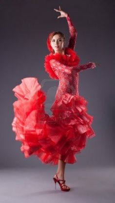 Picture of one woman dance flamenco in red costume stock photo, images and stock photography. Flamenco Skirt, Flamenco Dancers, Ballet Skirt, Dance Movies, Red Costume, Dance Fashion, Prom Dresses, Formal Dresses, Dance Costumes