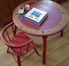 Vintage 1950's Children's Table and Chair Set Delphos Bending Company.