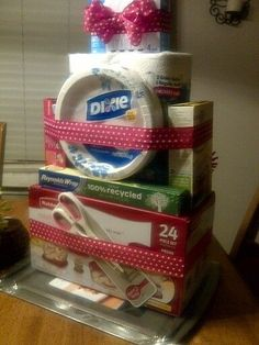 DIY Housewarming Gift: Stack Kitchen Items and Wrap with Ribbon