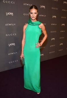 Rosie Huntington-Whiteley is a green goddess in Gucci at the LACMA 2012 Art + Film Gala