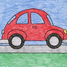Draw a VW Beetle Car – Art Projects for Kids Let's face it, Volkswagon Beetle cars are cute. Here's how I would draw one, if someone asked. Basic Drawing For Kids, Car Drawing Easy, Car Drawing Kids, Easy Art For Kids, Drawing Lessons For Kids, Easy Drawings For Kids, Art Lessons, Drawing Drawing, Colorful Drawings