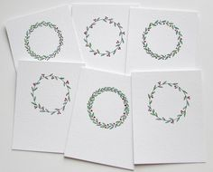Scandinavian Christmas wreath watercolor and ink original card set, Set of 6 notecards, Winter hygge hand painted hand drawn holiday gfit Watercolor Christmas Cards, Christmas Drawing, Watercolor Cards, Watercolour, Christmas Cards 2018, Xmas Cards, Diy Cards, Large Christmas Wreath, Christmas Art
