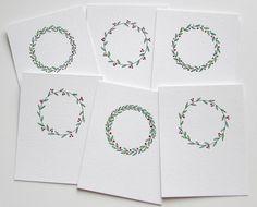 Scandinavian Christmas wreath watercolor and ink by CurrantStudio