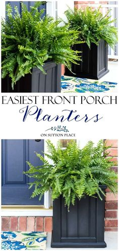 The Easiest Front Porch Planters Ever! Super simple and fast containers to dress up your front door. In just a few minutes your porch will go from drab to amazing! #porch #planter #gardeningtips #gardening #curbappeal #outdoordecor