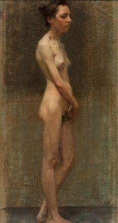 Μαθιόπουλος Παύλος (1876 - 1956)  Γυναικείο γυμνό 1898    κρητιδογραφία (παστέλ) www.asfa.gr