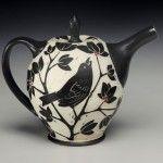 Karen Newgard Pottery -- Bird Teapot -- Handmade Pottery -- Sgraffito -- Black and White  -- Teatime