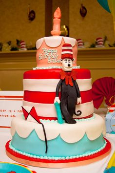 Dr seuss cake...but we need thing 1 and 2 added, maybe for Brayden's  next birthday since he loves cat in the hat