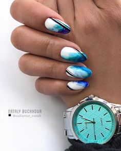 97 Bright Ideas Of Gel Nails For Summer In 2019 - PinningFashionPinningFashion Sea Nails, Blue Nails, Acrylic Nail Designs, Acrylic Nails, Nail Desighns, Sharpie Nail Art, Nailart, Manicure, Funky Nails