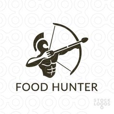 Logo design for sale #food #drinks #archer #delivery #bow #arrow #helmet #blue #fork #spoon #nutrition #fitness #fitnesssupplements #sparta