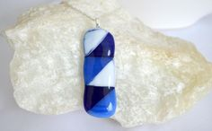 Fused Glass necklace blue and white project on Craftsy.com